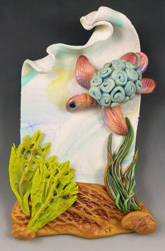 Hungry Honu by Christi Friesen Diy Classroom Decorations, How To Make Clay, Ocean Crafts, Play Clay, Sea Glass Art, Clay Animals, Animal Decor, Polymer Clay Crafts, Beach Art