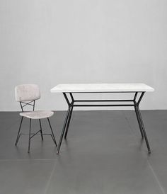 Doro Cuneo; Marble, Glass and Enameled Metal Dining Table, 1950s.