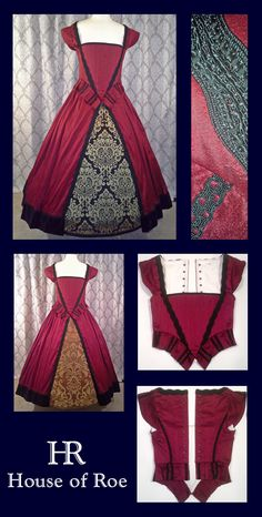 Juicy plum red silk Renaissance dress from the Classic Renaissance Collection at House of Roe.  Brocade foreparts sold separately, or buy the Gown Set, with everything you need!