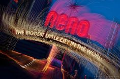"""""""Downtown Reno 1"""" This Reno, The Biggest Little City in the World sign was photographed in Reno, Nevada. The effect was obtained in camera by long exposure mixed with intentional camera movement."""