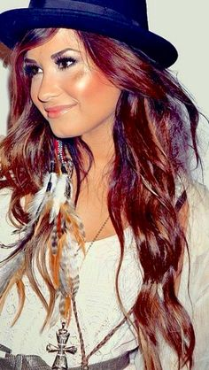 Red brown hair with highlights