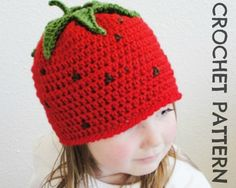 Kid's Strawberry CROCHET HAT PATTERN - Permission to Sell Finished Items. $4.50, via Etsy.