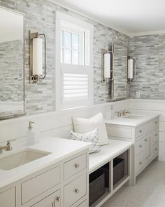 Calming master bathroom with shiplap and tile walls, a window seat flanked by his and her sinks, light gray cabinets and silver hardware Sophie Metz Design Bathroom Windows, Bathroom Renos, Bathroom Layout, White Bathroom, Small Bathroom, Bathroom Ideas, Bathroom Wall, Bathroom With Window, Design Bathroom
