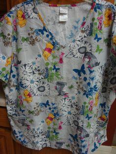 DISNEY Ladies Scrub Shirt 2X XXL 2X Winnie the Pooh Eeyore Scrubs Top Womans #Disney #SCRUB #Scrubs #ebay #pooh