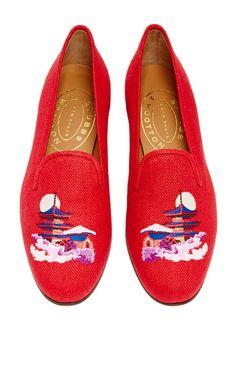 5b14fa5294f M O Exclusive  Kyoto Slipper Red in Linen