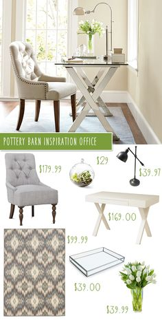 Pottery Barn Ava Desk & Tufted Chair Office Makeover on a Budget!, home office decor Home Office Space, Home Office Design, Home Office Decor, House Design, Home Decor, Office Ideas, Small Office, Sunroom Office, Bright Office