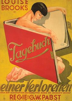 German poster of Louise Brooks and G.W.'s Pabst's film Diary of a Lost Girl, 1929.
