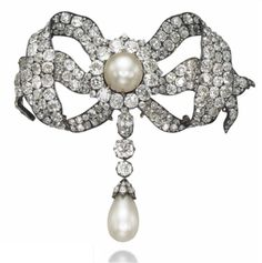 Antique Natural Pearl And Old-Cut Diamond Devant-de-Corsage Brooch Mounted In Silver And Gold   c. Mid 19th Century