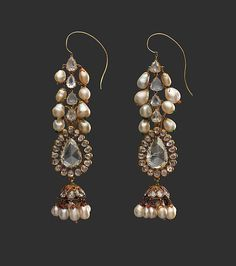 Diamond Earrings and Pearl Supports | Date: late 18th century | Geography: India, Deccan, Hyderabad | Culture: Islamic | Medium: Diamond, pearls, gold, emeralds, and enamel