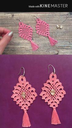 Lucky Charm Earrings, your new favorite Accessory Crochet Earrings Pattern, Crochet Jewelry Patterns, Crochet Hair Accessories, Crochet Flower Patterns, Macrame Patterns, Crochet Motif, Crochet Designs, Crochet Flowers, Crochet Jewellery