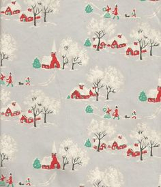 Vintage Christmas Wrapping Paper Old Fashioned Village Snow Scene Christmas Gift Wrap One Flat Sheet Vintage Christmas Wrapping Paper, Christmas Gift Wrapping, Christmas Gifts, Vintage Sheets, Christmas Background, Vintage Sewing, 1940s, Wraps, Scene