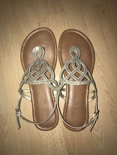42ee1583e56c KELLY   KATIE Textured Gold Pretzel  Poppy  Flat Thongs Slingbacks SANDALS  8.5  fashion  clothing  shoes  accessories  womensshoes  sandals (ebay link)