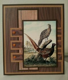 Masculine birthday card with pheasants