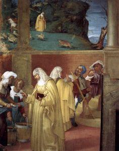 Legend of St. Brigid (detail) - Lorenzo Lotto.  1523-24.  Fresco.  Oratorio Suardi, Trescore, Italy.