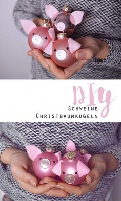 DIY // Pigs Christmas baubles + Sweepstakes - New Deko Sites Christmas Tree Baubles, Noel Christmas, Christmas Crafts, Xmas, Christmas Gadgets, Pig Crafts, Diy And Crafts, Tree Decorations, Christmas Decorations
