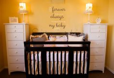 I'll Love You Forever I'll Like You For Always As Long As I'm Living My Baby You'll Be Vinyl Wall Decal Quote | Robert Munsch book | Nursery wall decor | baby room decor | new baby quote | baby shower gift idea | Nursery planning | brown crib | white yellow brown nursery theme | yellow paint | baby girl nursery