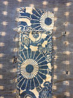 Antique Japanese Indigo Boro Patched Textile with Sashiko Mends - Mujo.