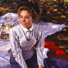 Megan Follows as Anne Shirley, at a picnic
