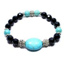 SOLD Black Onyx Turquoise Bracelet, Gemstone Beaded Bracelet, Protection Stretch Bracelet, Calming Stacking Bracelet on Etsy, $28  #bigskiesjewellery #bigskiesjewelry