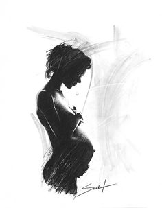 Charcoal figure drawing of pregnant woman by SignedSweet on Etsy, $12.00