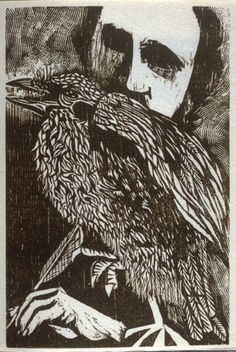 Antonio Frasconi (Uruguayan, 1919–2013). Untitled (Poe with Raven), fifth plate in the book The Face of Edgar Allan Poe, 1959. Woodcut on handmade Goyu paper. Gift of George Hopper Fitch. 1986.1.149.6