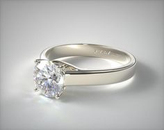 14k White Gold 3.3mm Cross Prong Solitaire Engagement Ring   11116W14 - Mobile