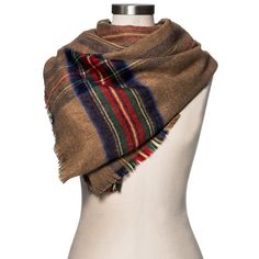 Women's Blanket Scarf Camel and Red Plaid - Merona, Tan