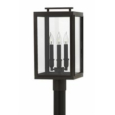 The Sutecliffe Outdoor Post Mount is available with Clear glass and an Oil Rubbed Bronze finish. Post NOT included. Three 60 watt max 120 volt candelabra base bulbs are required, but not included. 10 inch width x 20 inch height. Rated for wet locations. Hinkley post lights are compatible with two types of base; order either a pier mount fitter or post depending on the application.