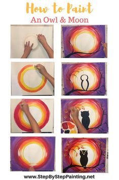 How to Paint an Owl Step By Step Acrylic Painting Tutorial is part of Art painting Inspiration - Learn How to Paint an Owl silhouette moon with acrylic paint on canvas FREE step by step tutorial Easy and fun painting lesson! Canvas Painting Tutorials, Easy Canvas Painting, Simple Acrylic Paintings, Painting Lessons, Painting Techniques, Art Lessons, Painting & Drawing, Canvas Art, Painting Abstract
