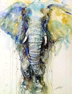 Teal Tusker Art Print by Arti Chauhan : Elephant art by Arti Chauhan Indian Paintings, Animal Paintings, Animal Drawings, Paintings Of Elephants, Art Paintings, Watercolor Animals, Watercolor Paintings, Elephant Watercolor, Watercolor Paper