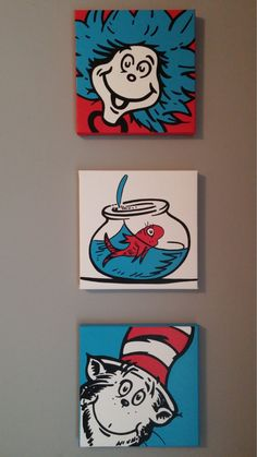 Cat In The Hat Set of 3 Dr. Seuss Classroom by BlissfulBrush