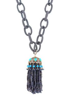 Randi Elyse Sterling Silver Textured Link Chain with Iolite Tassel Pendant. Available at London Jewelers!