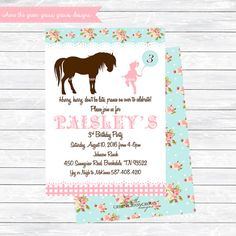 Pony Invitations pony party pony birthday by TheGreenGrassGrows