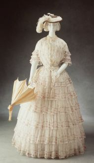 Day dress, ca. 1845, Australian. Muslin printed with floral motif.