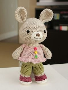 Rosie Rabbit - $4.99 by Amy of Little Muggles | Bunny Rabbits Part 3 - Animal Crochet Pattern Round Up - Rebeckah's Treasures