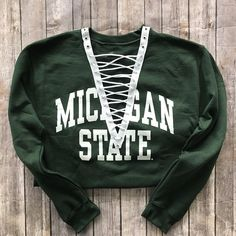 5710e9ba3e5 Michigan State Lace Up Sweatshirt   MSU   Spartans Shirt   Game Day Apparel    Tailgate Tops   College Tee