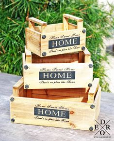 Holzkisten & Sweet Home& Set B 17, Sweet Home, Home Living, Toys, Home Decor, Wooden Crates, Home Decor Accessories, Rustic, Garten