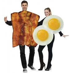 Bacon and Eggs Couple Costume, Great couples costumes! Everyone's favorite breakfast in a great new look! Cloth-covered foam tunic has a photorealistic print of bacon and comes with a matching eggs tunic. Both costumes are in one bag. Just wear your own b