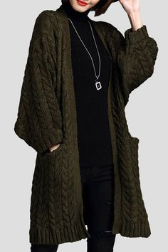 Cable Knit Batwing Sleeve Cardigan