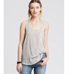 BR mixed media pocket tank Light grey cotton tank w breast pocket. Jersey on back with light woven cotton on front. Worn once, too big on me. Banana Republic Tops Tank Tops