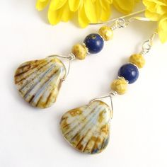 Shell Dangle Earrings, Czech Glass, Yellow and Lapis Blue Beads by #PrettyGonzo - #handmade #jewelry (Please note: These have SOLD.)