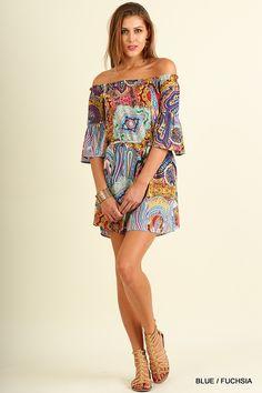 8ef104e03d413 Umgee Boho Blue and Fuchsia Paisley Off Shoulder Dress