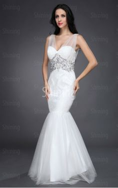 White Mermaid Floor-length Spaghetti Straps Dress Shop Online - P304
