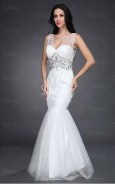 White Mermaid Floor-length Spaghetti Straps Dress Shop Online - P304