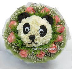 Panda flower bouquet at http://www.24hrscityflorist.com/panda-bouquet.html