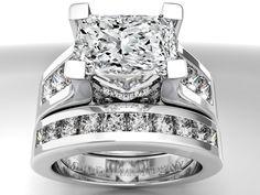 Engagement Ring -Modern Horizontal Radiant Cut Diamond Engagement Ring & Matching wedding Ring Bridal Set-ES550PRRABSWG