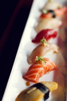 Tamago, Salmon, Red Snapper, Tuna, Butterfish, Crab Sushi - I want...all of these. Right now. Well, besides the tamago. I could pass on that one.