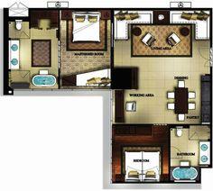 hotel suites floor plans | Bangkok Hotel Suites - Banyan Tree Bangkok Two-Bedroom Suites