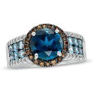 London Blue Topaz, Smoky Quartz and #diamond #Rings www.finditforweddings.com