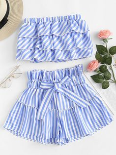 Shop Striped Tiered Tube Top With Ruffle Waist Skirt online. SHEIN offers Striped Tiered Tube Top With Ruffle Waist Skirt & more to fit your fashionable needs. Cute Girl Outfits, Cute Summer Outfits, Cute Casual Outfits, Pretty Outfits, Pretty Dresses, Stylish Outfits, Women's Casual, Girls Fashion Clothes, Teen Fashion Outfits